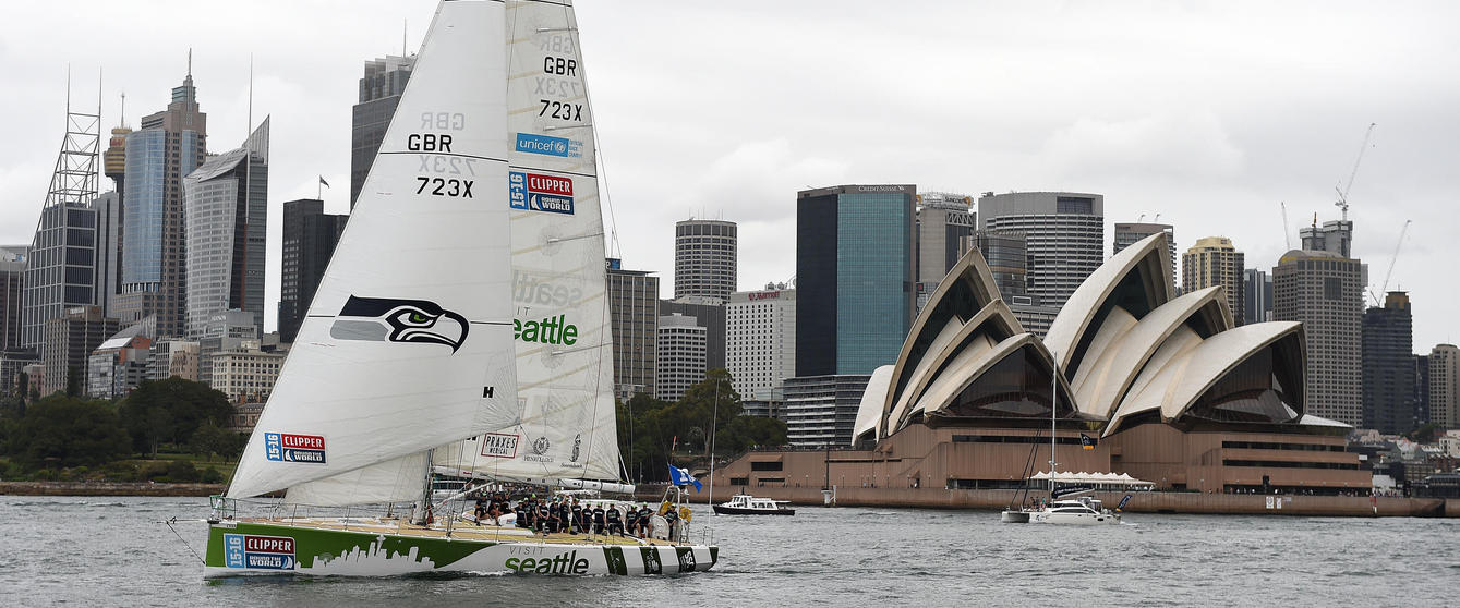 IMAGE DISTRIBUTED FOR CLIPPER VENTURES. Clipper yacht LMAX Exchange is seen under sail on Sydney harbour, Wednesday, Dec. 23, 2015. (AAP For CLIPPER VENTURES/Dan Himbrechts) NO ARCHIVING